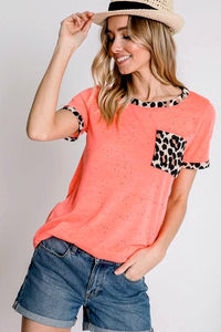 Neon Coral Animal Print Pocket Top