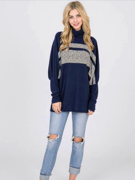 Navy Turtle Neck Oversized Animal Print Contrast Top