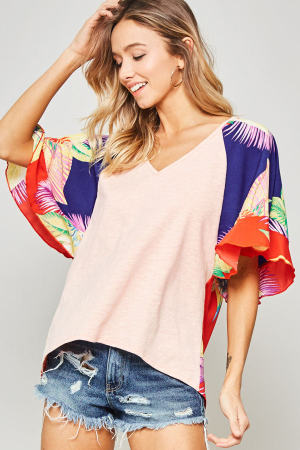 Pink Tropical Floral Colorblock Flutter Sleeve Top