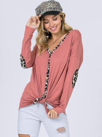 Light Brick Leopard Long Sleeve Tie Front Top