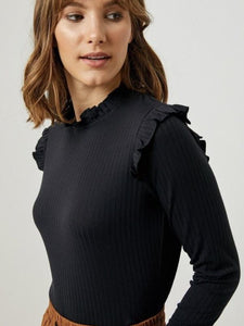 Black Ribbed Ruffle Mock Neck Top
