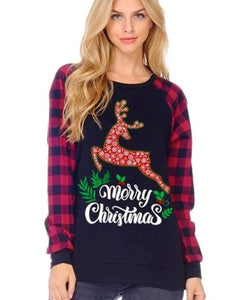 Black Merry Christmas Buffalo Plaid Sleeve Top