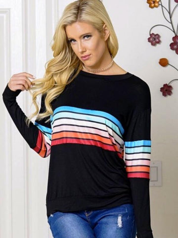 Black Multi Color Stripe Long Sleeve Top Featuring Round Neck