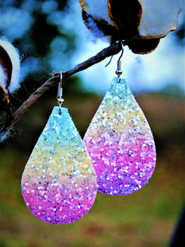 Pink Ombré Glitter Canvas Teardrop Earrings