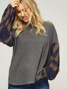 Charcoal/Navy Waffle Knit Top Featuring Contrast Floral Pattern Long Sleeves
