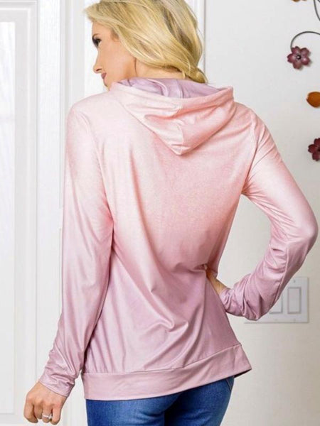 Rose Lilac Pullover Long Sleeve Hoodie Featuring Kanaroo Pocket