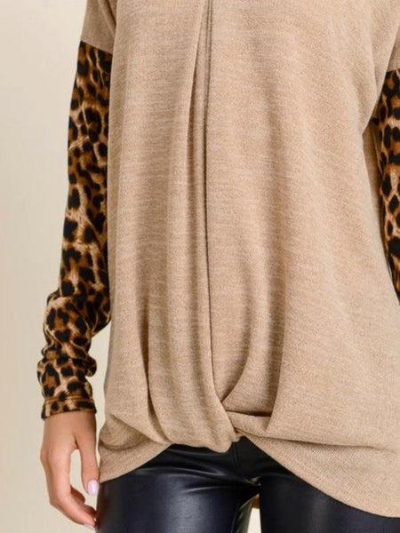 Taupe Leopard Contrast Pleated V Neck Top