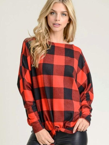 Buffalo Plaid Boat Neckline Top