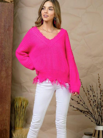 Neon Fuchsia Frayed Sweater