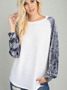 Ivory/Charcoal Ice Velvet Long Sleeve Top