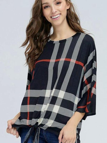 Black Plaid Print Three Quarter Sleeve Front Tie Top