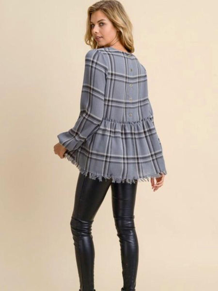 Charcoal Plaid Peplum Top w/Frayed Edges