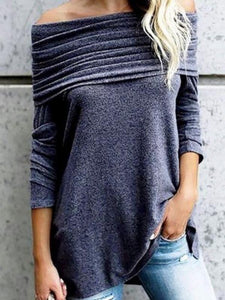 Charcoal Soft Knitted Long Sleeve Off Shoulder Top