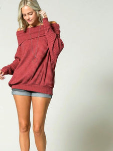 Wine Ribbed Knit Pullover Long Sleeve Off Shoulder Top