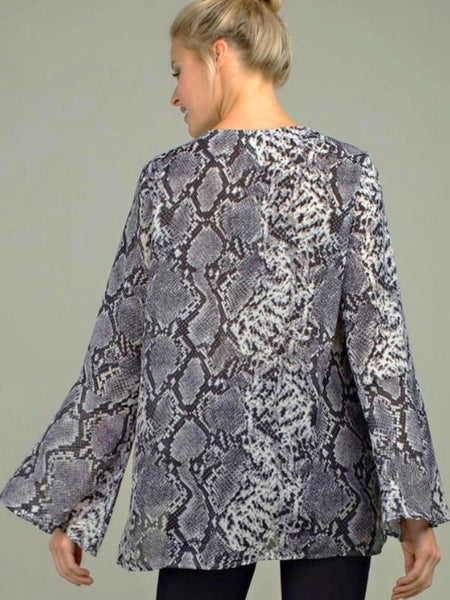 Grey Snakeskin Long Bell Sleeve Blouse