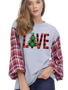 Charcoal Love With Christmas Tree Graphic Top
