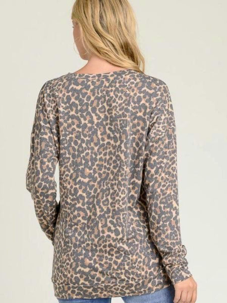 Charcoal Contrast Leopard Top With A Round Neckline, Long Sleeves, Banded Hem And Peat/Button Detail