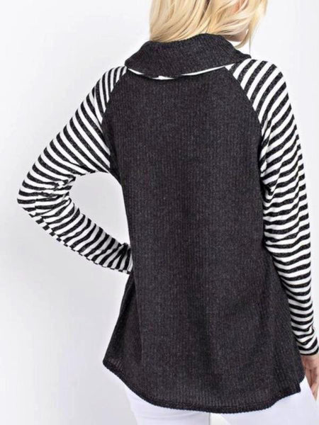 Black Contrast Knit Top Featuring Turtle Neck And Striped Long Sleeves