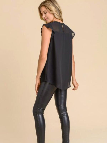 Black Pleated Front Top