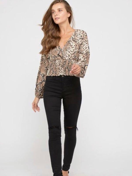 Brown Animal Print Smocked Waist Long Sleeve Top