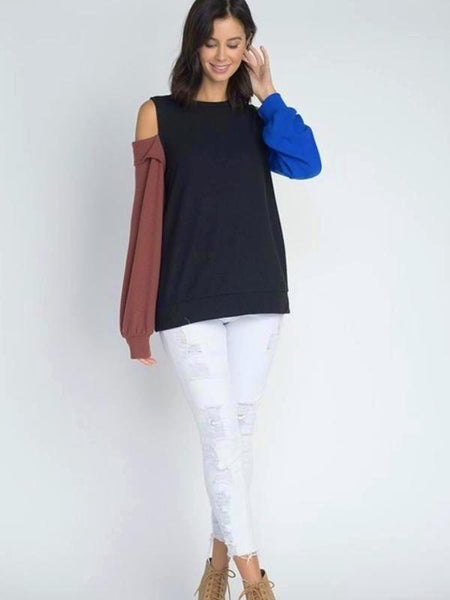 Black Color Block Open Shoulder Sweater Top