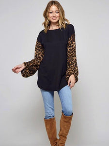 Black/Leopard Solid Poly Brushed Sweater Top with Leopard Balloon Sleeve