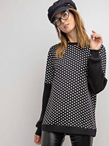Black Polka Dot Terry Knit Top