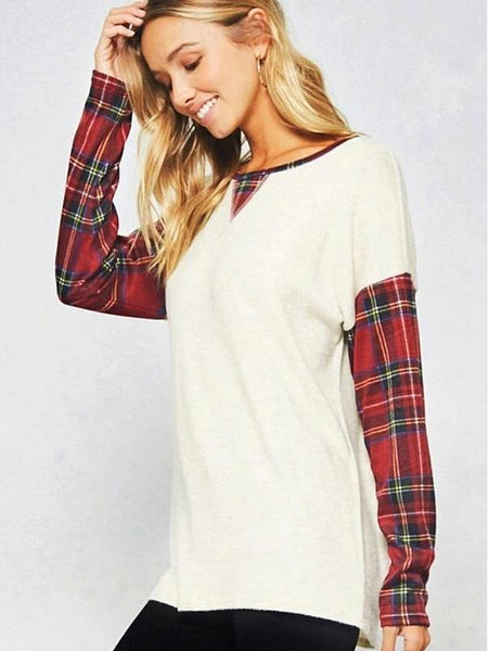Wine/Oatmeal Plaid Pattern Brush Knit Sweater