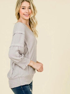 Dusty Pink Long Sleeve Thermal Knit Top