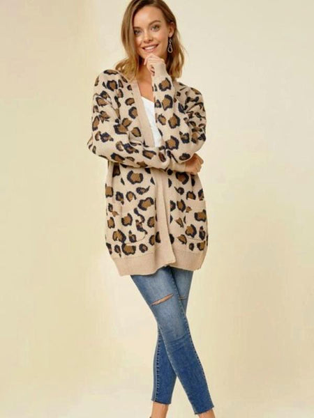 Tan Leopard Knit Cardigan With Pockets