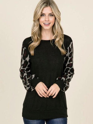 Grey/Wine Leopard Print Bubble Sleeve Tunic Top