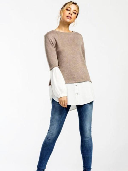 Taupe Balloon Sleeve Sweater Top