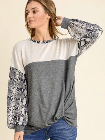 Oatmeal/Charcoal Long Puff Sleeves With Twisted Hem Top