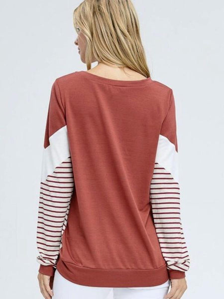 Rust Long Sleeve Solid Knit Top Featuring Chevron Striped Design