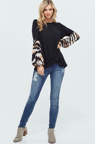 Black Solid Knit Sweater with Tiger Print Long Puff Sleeves