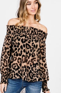 Leopard Off Shoulder Long Sleeve Top
