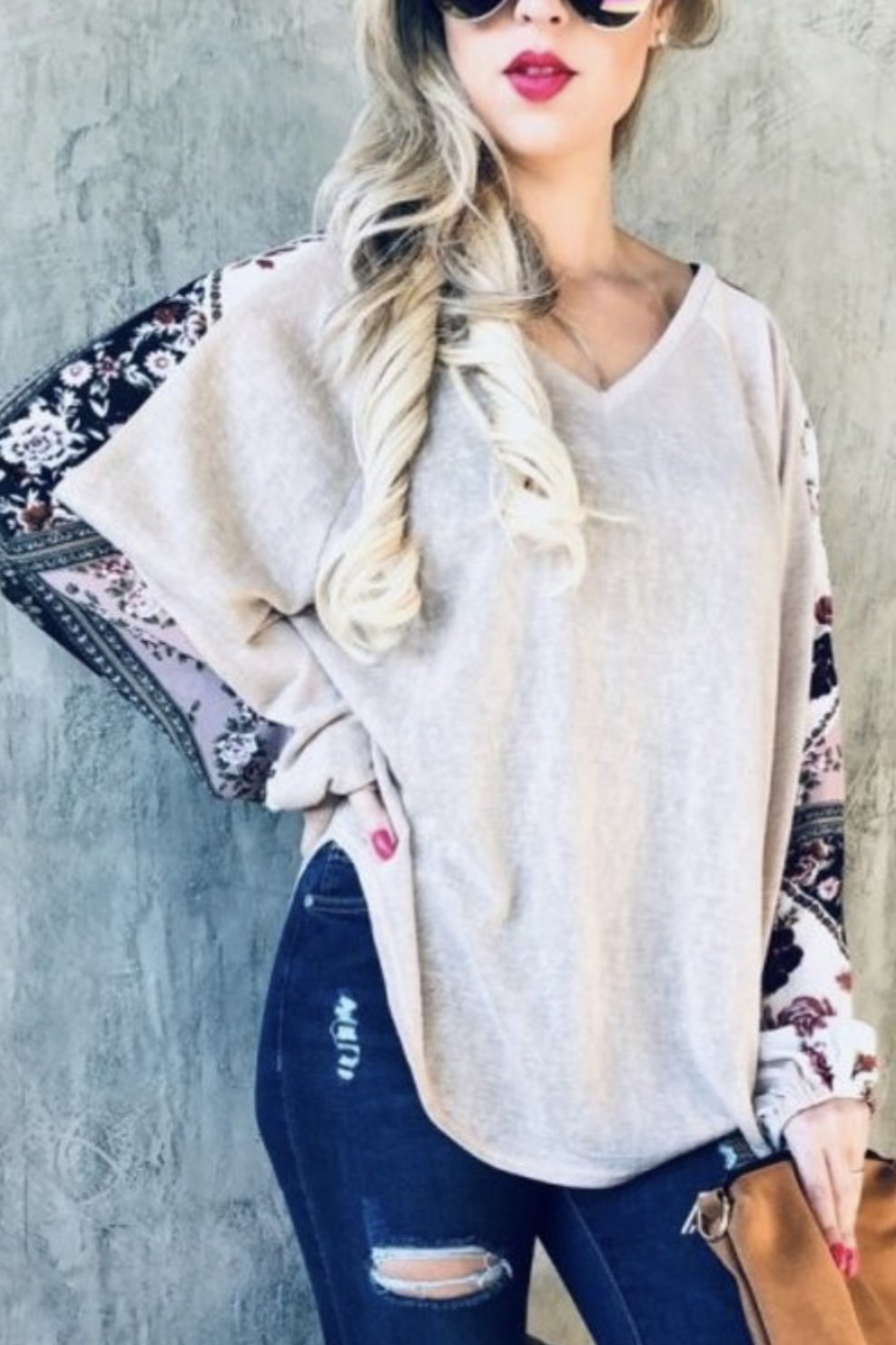 Taupe V Neck Floral Sleeve Top