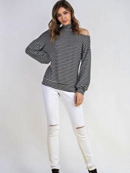 Black Striped French Terrry Mock Neck Open One Shoulder Top