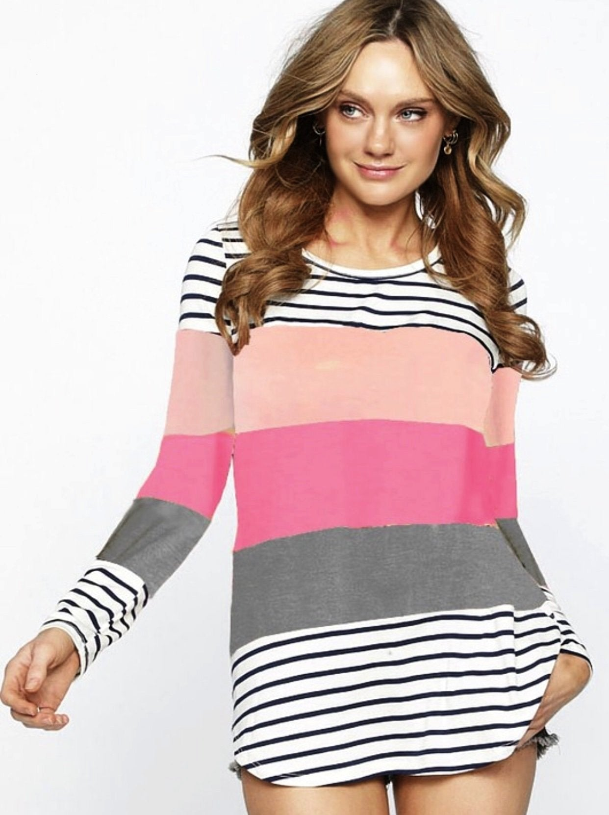 Blush/Pink/Grey Top With Black and White Stripes