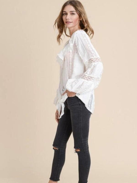 Ivory Ruffled Bottom Lace Tie Top
