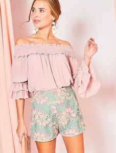 Pink Off-Shoulder Smocked Detail Ruffle Top