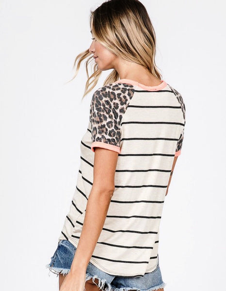 Coral/Leopard/Off White Stripe Raglan Sleeve Top