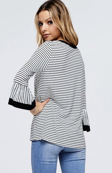 White Bell Sleeve Stripe Knit Top