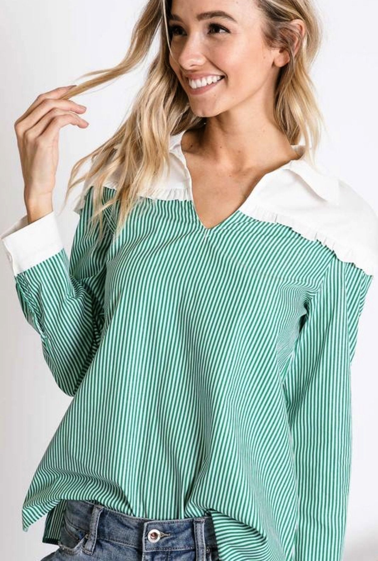 GREEN STRIPE AND SOLID CONTRAST LONG SLEEVE SHIRT