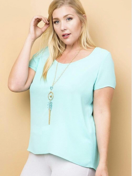 Plus Size Aqua Short Sleeve Top