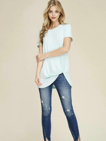 Mint Front Knot Detail Short Sleeve Top