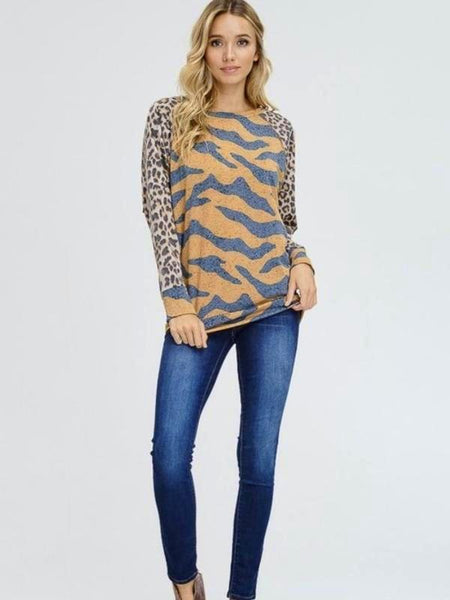 Brown Tiger Print Knit Top Featuring Round Neck And Cheetah Raglan Sleeve