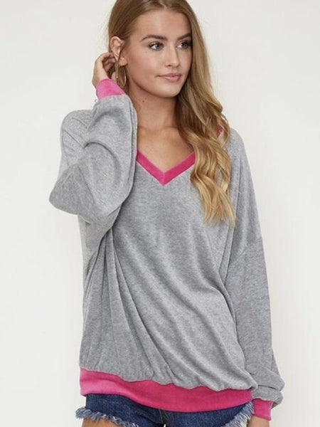 Grey/Pink Soft Sweatshirt With Long Cuff Sleeves