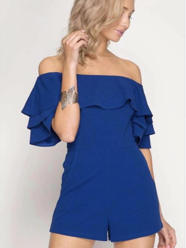 Blue Off Shoulder Ruffled Short Sleeve Romper