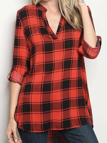 Red/Black V Neck Relaxed Fit Roll Up Sleeve Hi Lo Plaid Top